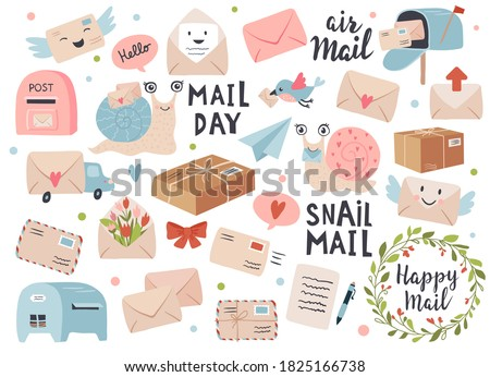 Mail and post icon set with envelopes and snail cartoon. Perfect for scrapbook, sticker kit, tags. Hand drawn vector illustration. Stockfoto ©