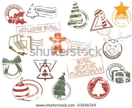 Mail before Christmas (vector rubber stamps)