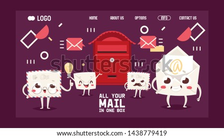 Mail box letter cartoon characters envelope vector landing page post mailbox postal mailing letterbox illustration. Postboxes design for delivery mailed letters sending in envelopes
