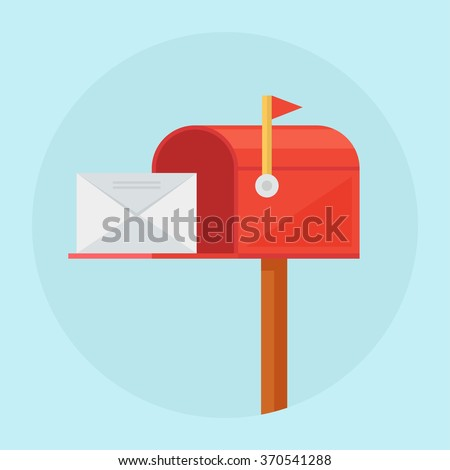 Mail box vector illustration in the flat style. Red mail box post. Open mail box with an envelope on the cover isolated from background.