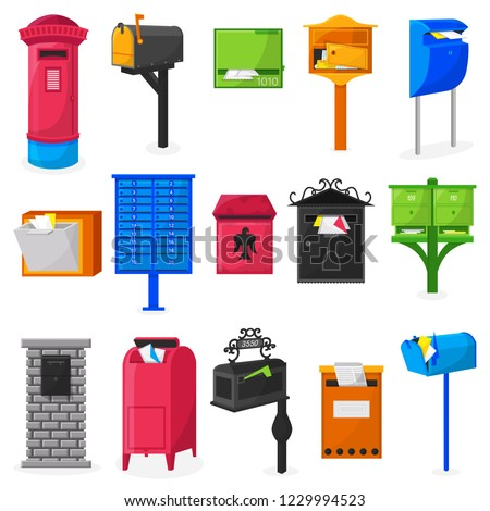 Mail box vector modern post mailbox designe or postal mailing letterbox illustration set of postboxes for delivery mailed letters isolated on white background