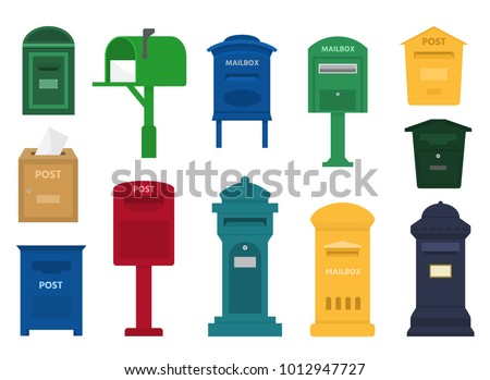 Mail box vector post mailbox or postal letterbox of American or European mailing and set of postboxes for delivery mailed letters to various countries illustration isolated on white background