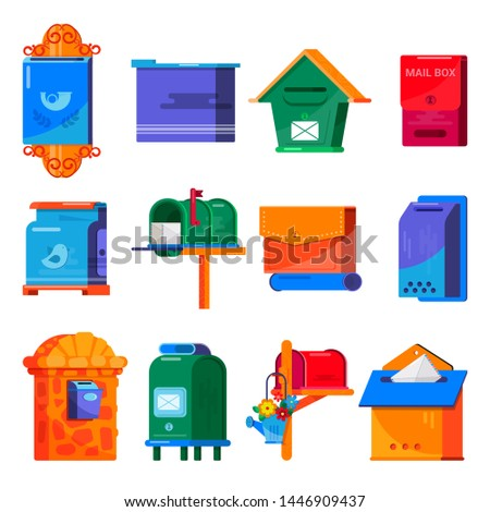 Mail box vector post mailbox or postal mailing letterbox illustration set of postboxes mail-boxes for delivery mailed letters in envelope isolated on white background