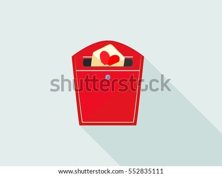 Mail box with lover letter on Valentine day. Mail box icon. Love mail box with long shadow, in the flat style.