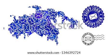 mail combination of blue mosaic