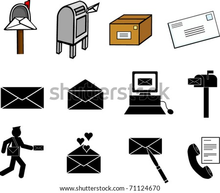 mail communications illustrations and symbols set