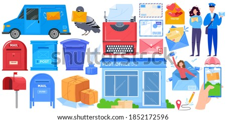 Mail delivery, post shipping service islated icons set with mailbox, post office parcels, mailman and postoffice vector illustration. Envelope, postage, love letters, packages. Postbox correspondence. Stockfoto ©