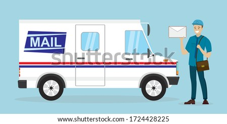 Mail delivery truck. Happy postman in uniform. Caucasian mailman hold letter. Courier with mailbag, delivery and post service. White postal van. Cartoon male character and vehicle. Vector illustration Stockfoto ©
