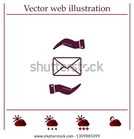 Mail envelope on the hand, mail. A letter on the palm of your hand. Vector icon.