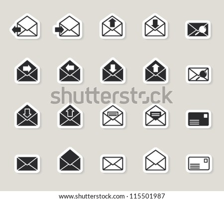 mail envelope web icons set. paper stickers