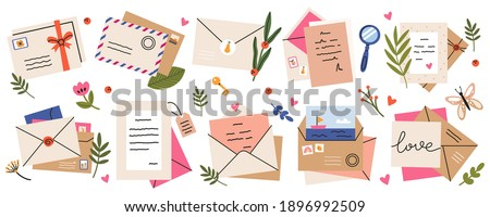 Mail envelopes. Post cards, envelopes, post stamps, craft paper letters and mail envelopes. Postage cards, cute envelopes vector illustration set. Love messages with stickers and plants Foto stock ©