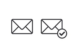 Mail icon. Envelope sign. Vector Illustration. Email icon. Letter icon. Email notification. Contact form. Sign of voting. Sign of choice. Checkbox. Checkmark OK. Symbols YES. Verified mail.