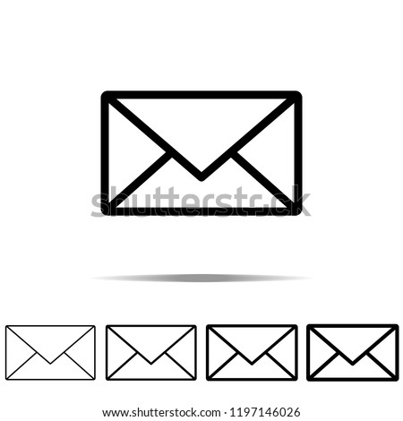 mail icon in different shapes, thickness. Simple outline vector of web for UI and UX, website or mobile application
