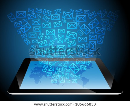 Mail icon on touch-screen tablet-pc. Vector illustration