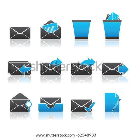 Mail icon set 23 - Blue Series.  Vector EPS 8 format, easy to edit.