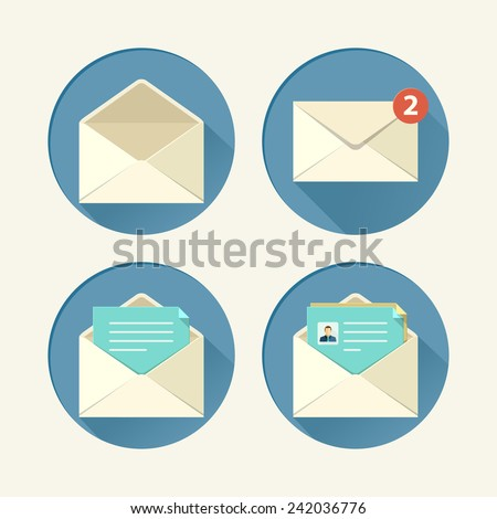 Mail icon set in flat style. Vector illustration
