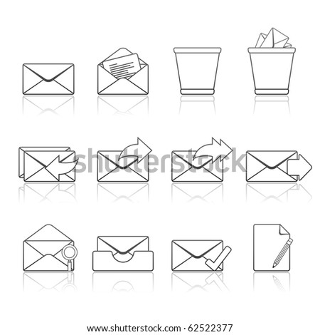 Mail icon set 23 - Strokes Series.  Vector EPS 8 format, easy to edit.