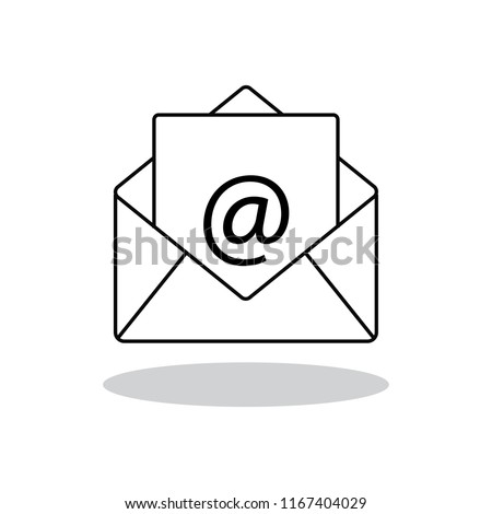 Mail icon vector isolated on white background. Trendy mail icon in flat style. Template for app, ui and logo. Icon mail for your web site. Vector illustration, EPS 10