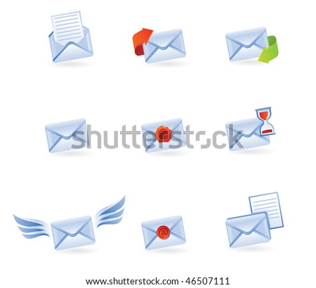 mail icons isolated on white - vector illustration