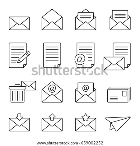 Mail icons: thin monochrome icon set, black and white kit