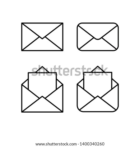 Mail linear icons, open and closed envelopes, e-mail symbol.