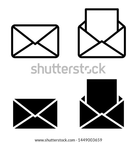 Mail linear icons, open and closed envelopes, e-mail symbol , simple icon