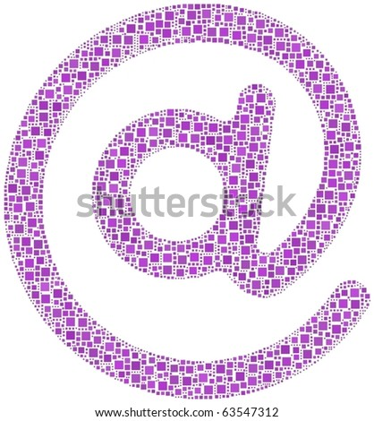 Mail me! A number of 2724 squares are inserted into the mosaic - stock vector