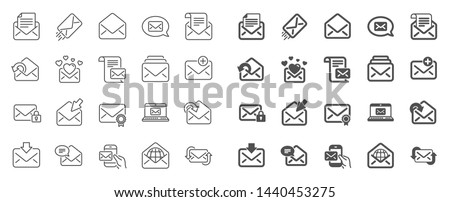 Mail message line icons. Newsletter, Email document, Correspondence icons. Received mail, Secure message and Web letter. Post office newsletter, Send email document, private communication. Vector