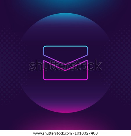 Mail neon outline icon. Message, contact email luminous thin button. Ultra violet color. Trendy element for graphic and web design, logo, mobile app, website social media, UI