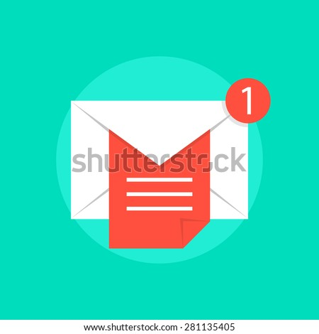 mail notice with white letter and red sheet. concept of support, spam, document, counter incoming, mobile apps. isolated on green background. flat style trend modern logo design vector illustration