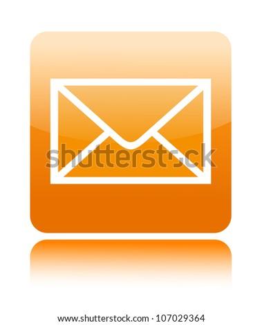 Mail orange button icon on white