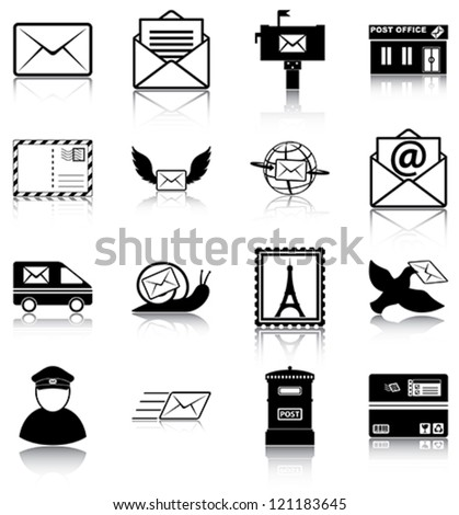 Mail related icons/ silhouettes.