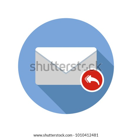 Mail reply to all recipient icon. Email icon with long shadow. Vector Flat Illustration