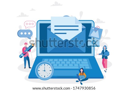 Mail service, e-mail message, mail notification sending, a new incoming sms, envelope, Social network, chat, spam. Vector illustration for web banner, infographics, mobile website. For landing page