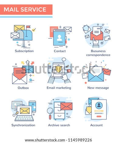 Mail service, email marketing icons, thin line,  flat design, color set
