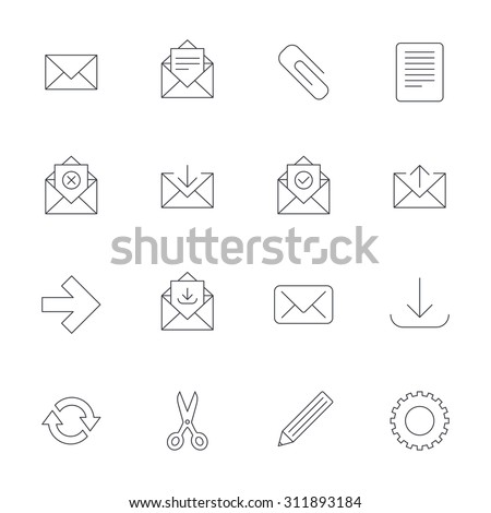 Mail services icons. Send mail, paper clip and download arrow symbols. Scissors, pencil and refresh thin outline signs. Receive, select and delete mail. Outline line icons on white background. Vector