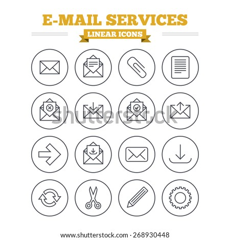 Mail services linear icons set. Send mail, paper clip and download arrow symbols. Scissors, pencil and refresh thin outline signs. Receive, select and delete mail. Flat vector