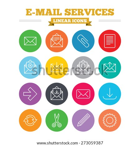 Mail services linear icons set. Send mail, paper clip and download arrow symbols. Scissors, pencil and refresh thin outline signs. Receive, select and delete mail. Flat circles vector
