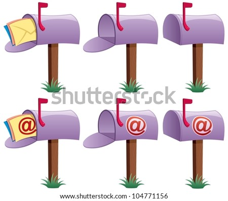 Mailbox: Cartoon illustration of mailbox in 6 versions. 3 of them are conceptual illustrations for e-mail. No transparency used. Basic (linear) gradients.