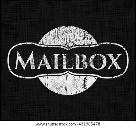Mailbox chalkboard emblem written on a blackboard