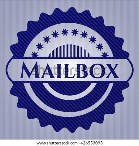 Mailbox emblem with denim high quality background