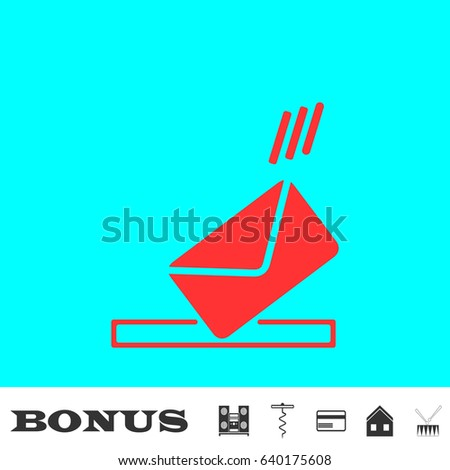 mailbox icon flat red