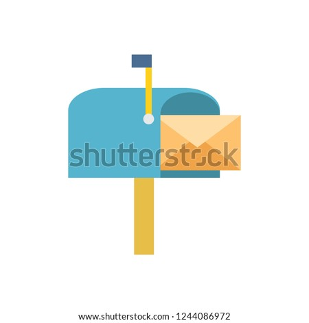 Mailbox vector icon, envelope in mailbox illustration color