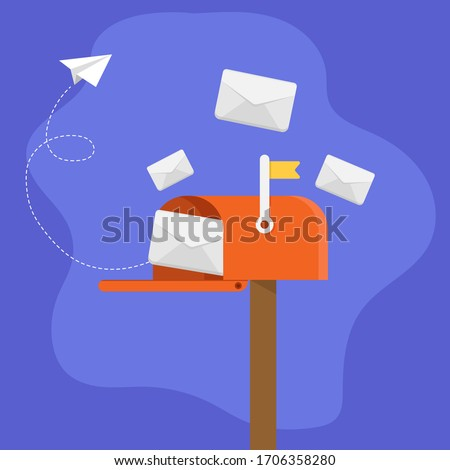 Mailbox with envelope and paper aeroplane. web post icon.mails.