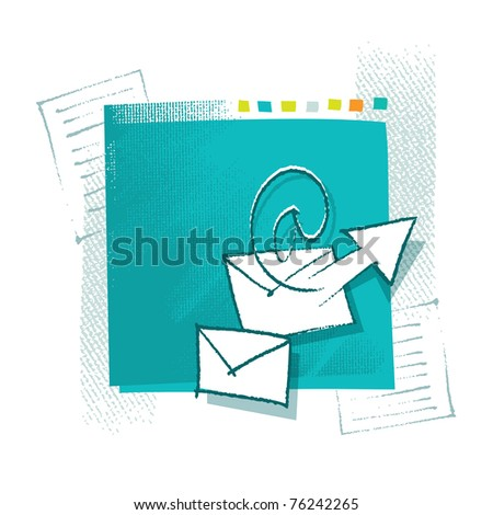 Mailing icons on artistic painterly background, chalk technique, grunge vector style