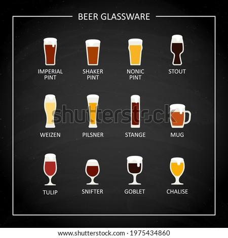 Main beer glasses, flat icon on black chalkboard. Vector Stock photo ©