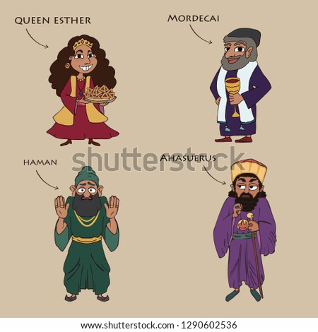 main characters from the book of esther, funny colorful cartoon vector set  Foto stock ©