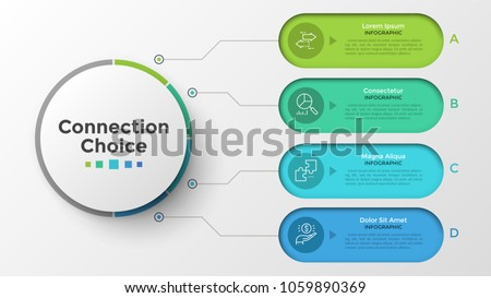 Main circle connected to four colorful rounded elements with linear pictograms and place for text inside. Concept of 4 services provided by company. Infographic design template. Vector illustration.