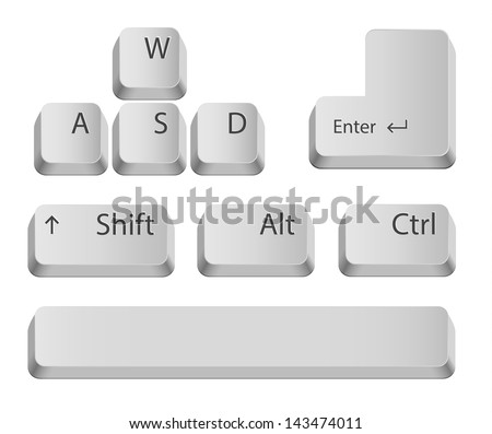 Main keyboard buttons for games or apps. Isolated on white.