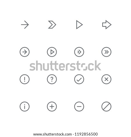 Main outline icon set - arrows, exclamation and question mark, tick, cross, information, plus, minus and delete symbol. Different design elements and vector signs.